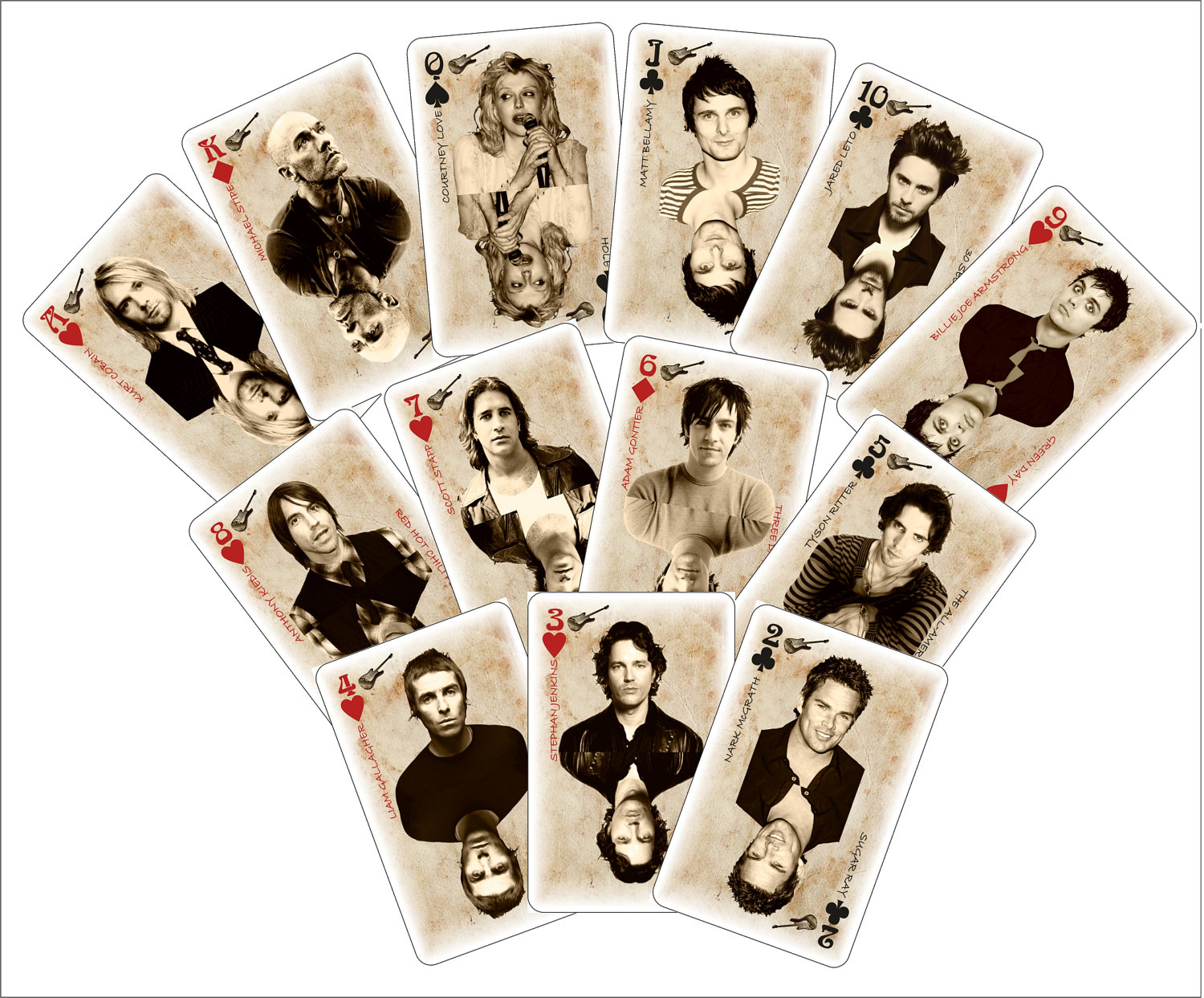 Deck of 54 Playing Cards, Digital Art, Print, Art Illustration, Alternative Rock,Nirvana,Card Deck, Punk, Grunge, Music, Vintage, 2x3 print