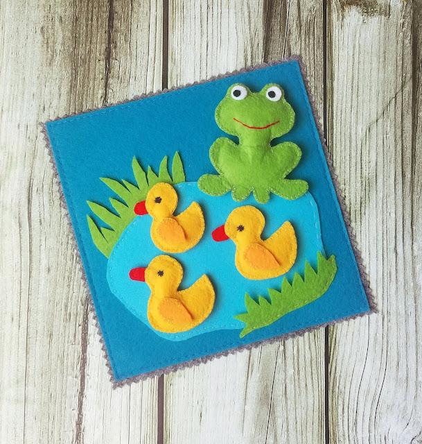 """фетровая страничка- развивашка для детей """"на озере"""""""