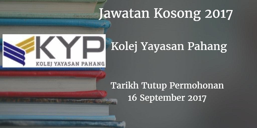 Jawatan Kosong KYP 16 September 2017
