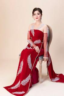 Thanh Trúc khoe nhan sắc rạng ngời trong các tà áo dài đỏ rực