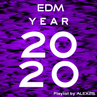 Horizontal wavy shapes in purple and black with text in the foreground that reads 'EDM Year 2020 Playlist by ALEX25'. This is the cover of the EDM Year 2020 ALEX25 playlist.