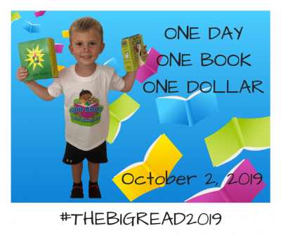 """Boy holding books with text """"one day one book one dollar October 2, 2019 hashtag The Big Read 2019"""
