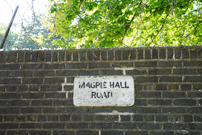 Photograph of a wall sign. It has black text reading 'MAGPIE HALL ROAD' on an off-white background. The sign is on a red brick wall topped with broken glass and loops of barbed wire.