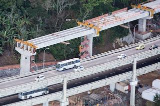 duplicação do elevado em construção
