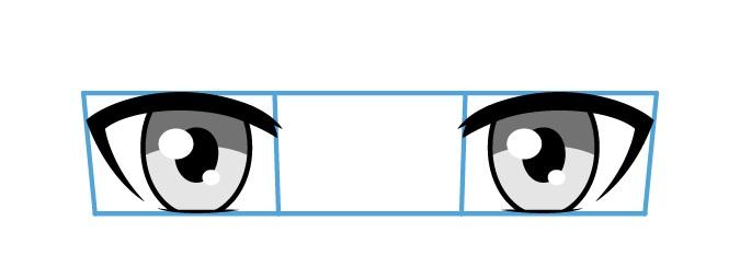 Mata anime tampilan atas ke bawah
