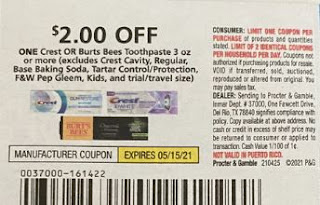 """$2.00/1-Burt's Bees Adult Toothpaste Coupon from """"P&G"""" insert week of 4/25/21(exp5/15)."""