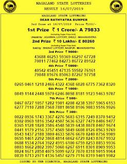 Nagaland Lottery Dear Hawk Results 11 08 2019 Draw Live