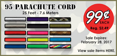 95 Parachute cord 25 Feet for $0.99.