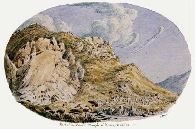Αποτέλεσμα εικόνας για «Ο βράχος της Ποικίλης και τα ερείπια του ιερού της Αφροδίτης εν Κήποις, στο Δαφνί»