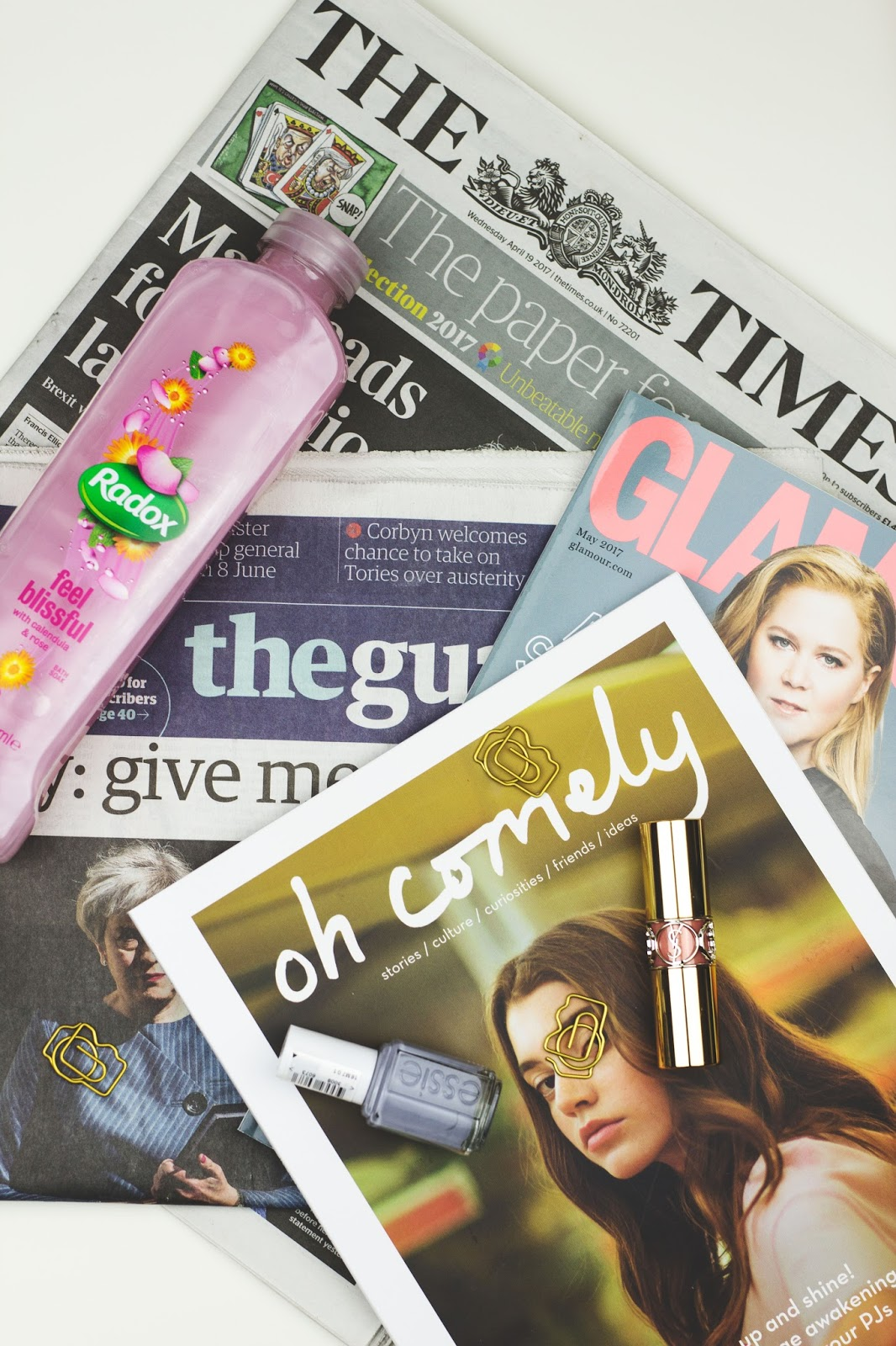 Happiness, Lifestyle bloggers, Lifestyle blogs, Flatlay, Newspapers UK, Oh Comely Magazine, Oh Comely April 2017, Glamour Magazine May 2017, Glamour Magazine, Essie Cocktail Bling, Camera Paperclips, YSL Lipstick, Derby blogs, Katie Writes, Katie Writes Blog,