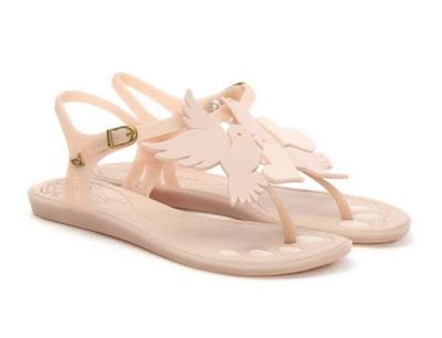 Vivienne Westwood Solar Dove Pink Rubber T Bar Sandals