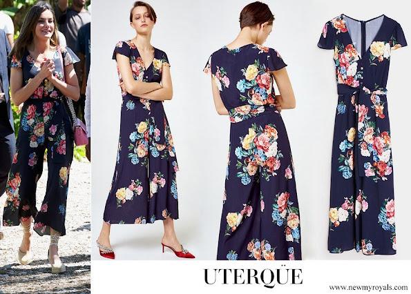 Queen Letizia wore UTERQUE Floral Jumpsuit