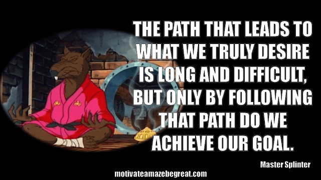 "Master Splinter Quotes: ""The path that leads to what we truly desire is long and difficult, but only by following that path do we achieve our goal."""