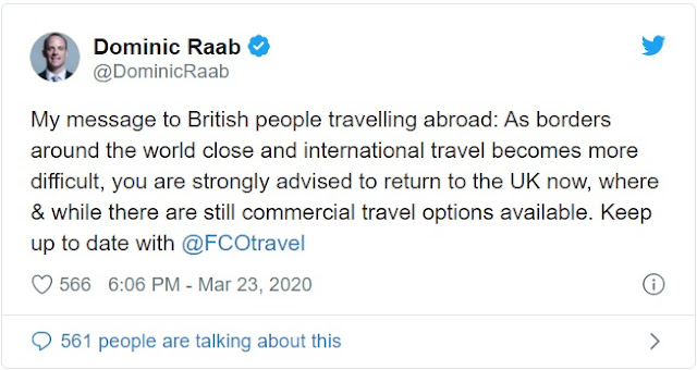 "Coronavirus: Foreign Secretary Dominic Raab Asks Brits Abroad To 'Return Home Now'  Minister warns airports are starting to close, telling people: ""The time to come home is now while you still can."""