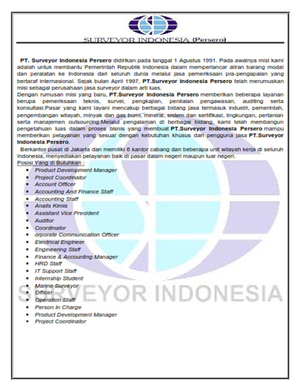 Gambar untuk Lowongan Kerja PT Surveyor Indonesia Terbaru Juni 2017