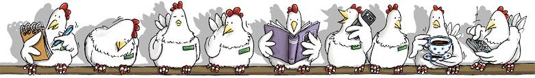 Hühnercartoon, Hühner auf der Stange, Illustration, Hühner, chicken, Freilandeier, Hühnermobil, mobiler Hühnerstall, Angela Kommoß