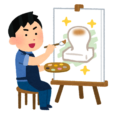 絵に描いた餅のイラスト(男性)