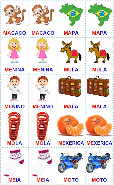 Jogo da memória - palavras com MA - ME - MI - MO - MU