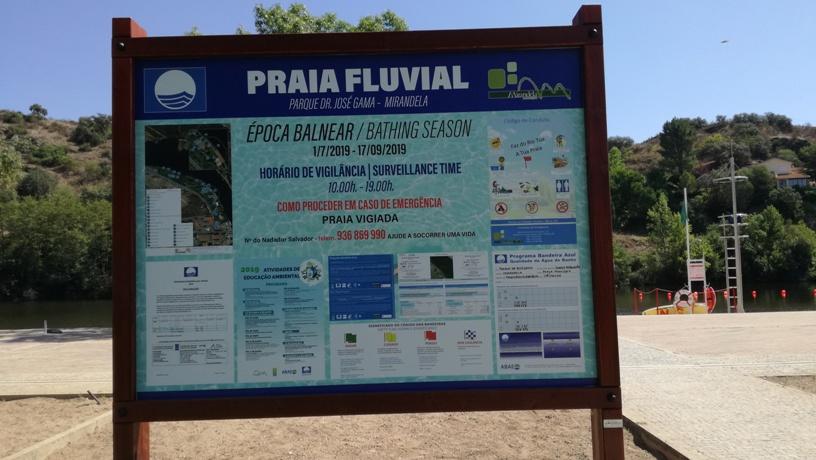 Placa informações Praia Fluvial