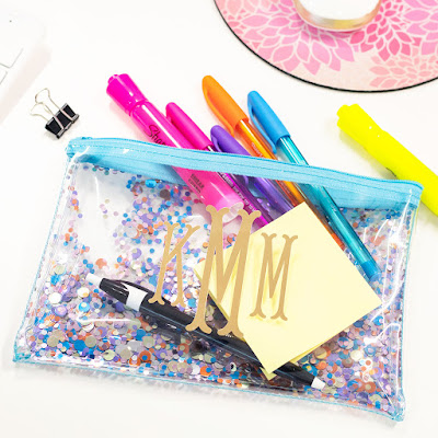 clear personalized bag with colorful confetti