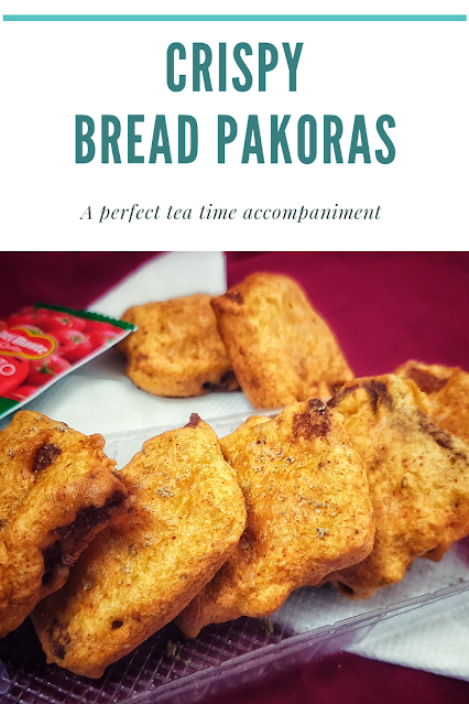 Bread Pakoras or bread bhajiyas are very famous as street food special across the northern part of India.  Bread slices are dipped in gramflour batter which is spiced using red chilli powder , finely chopped chillies and the slices are deep fried in oil.