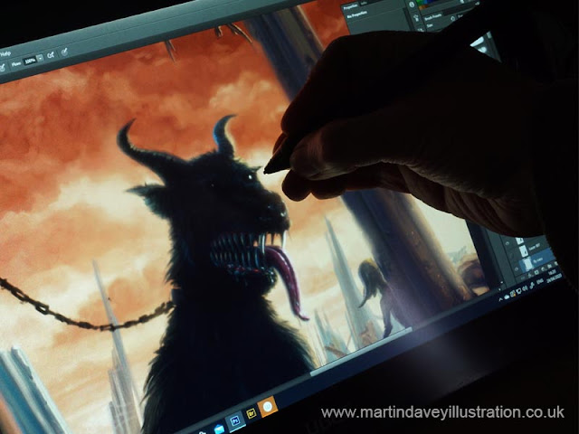 painting horror hell dog close up artist
