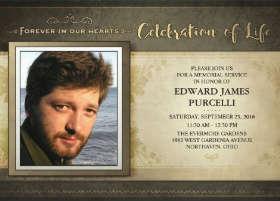 celebration of life - golden brown memorial service invite