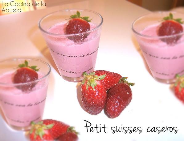 Petit suisses caseros (petisuis de fresa).