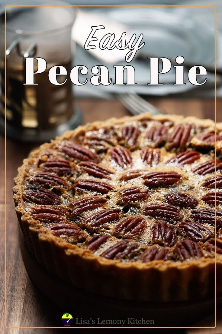 This easy pecan pie recipe is a classic dessert, with sweet crust pastry and sugary sweet, a hint of caramelised custard filling.  Once baked, pecan pie should be cooled down completely, before slicing to allow custard to set.