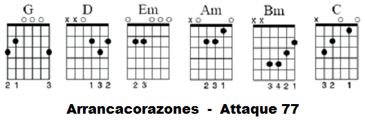 Arrancacorazones attaque 77 acordes guitarra acustica