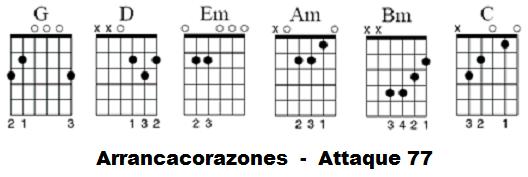 Arrancacorazones attaque 77 acordes guitarra acustica