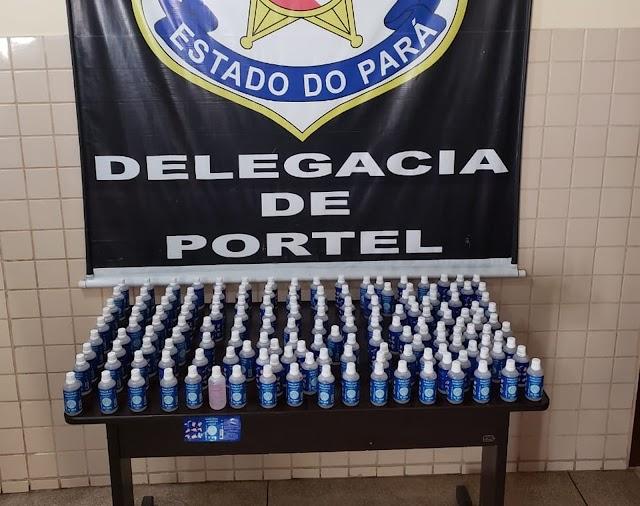 Polícia flagra farmácias vendendo álcool em gel adulterado em Portel, no Marajó