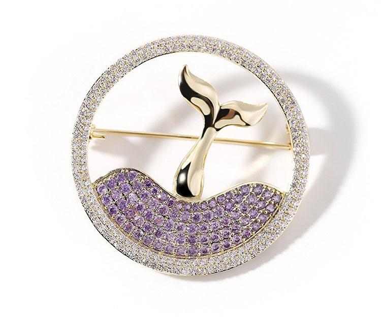 夢幻人魚紫水鑽水晶別針