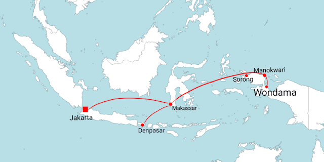 Flight route for tourists who want to travel to Wondama