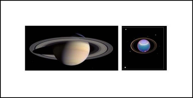 Figure 1: (left) Image of Saturn's rings taken by the Cassini spacecraft.  Provided by NASA http://photojournal.jpl.nasa.gov/catalog/PIA06077).  (right) Image of Uranus' rings taken by the Hubble Space Telescope.  Provided by NASA. (http://photojournal.jpl.nasa.gov/catalog/PIA02963).