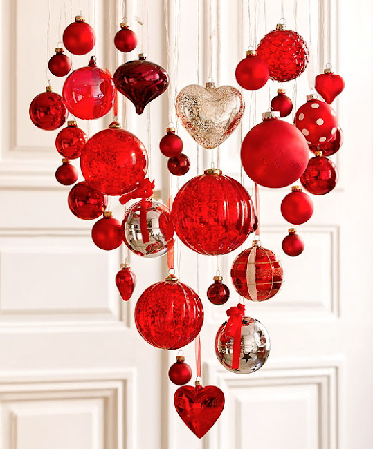 valentine heart decor, Christmas ornaments transitioned into Valentine's theme, hanging ornaments, red hearts, love, valentine's day heart shape