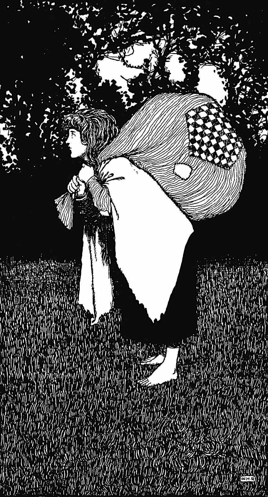 a W. Heath Robinson illustration of a woman in full profile carrying a lage sack