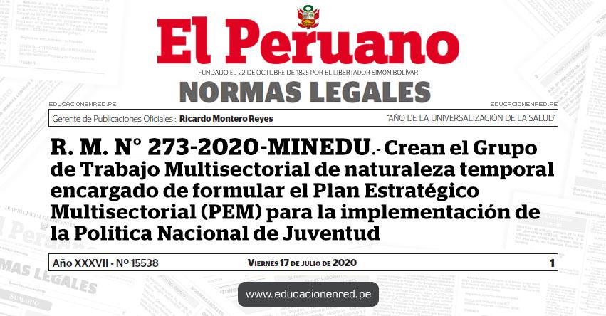 R. M. N° 273-2020-MINEDU.- Crean el Grupo de Trabajo Multisectorial de naturaleza temporal encargado de formular el Plan Estratégico Multisectorial (PEM) para la implementación de la Política Nacional de Juventud