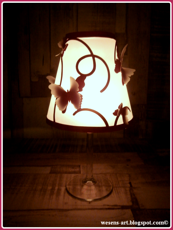 wesens art diy butterfly wineglass lampshade. Black Bedroom Furniture Sets. Home Design Ideas