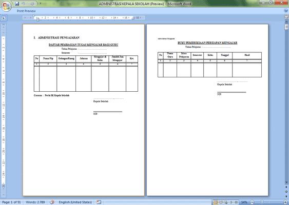 Format Administrasi Kepala Sekolah Download File Microsoft Word