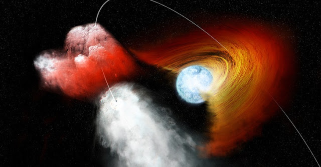 "Illustration of a high-mass X-ray binary system made up of a compact, incredibly dense neutron star paired with a massive ""normal"" supergiant star. New data from NASA's Chandra X-ray Observatory shows that the neutron star in the high-mass X-ray binary, OAO 1657-415, passed through a dense patch of stellar wind from its companion star, demonstrating the clumpy nature of stellar winds. IMAGE: NASA/CXC/M.WEISS"