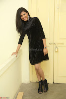 Mounika in a velvet short black dress for Tick Tack Movie Press Meet March 2017 086.JPG