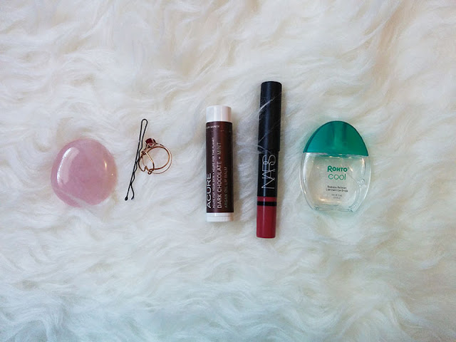 Rose quarts, acure dark chocolate mint lip balm, nars lip pencil, rohto cool eye drops