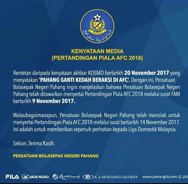 Ini Sebabnya Pahang Menolak Beraksi Di Piala AFC 2018!