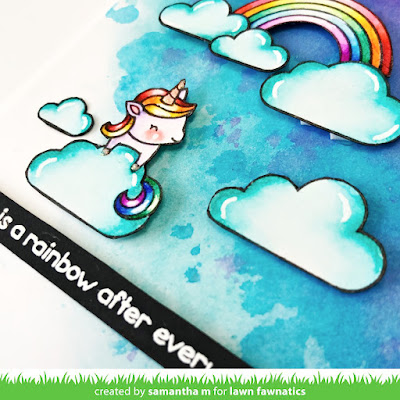 A Rainbow After Every Storm Card by Samantha Mann, Lawn Fawn, Lawn Fawnatics Challenge, Unicorn Picnic, Cards, Handmade Cards, Watercolor, Distress Inks, Clouds #lawnfawn #lawnfawnatics #distressinks #watercolor #unicornpicnic
