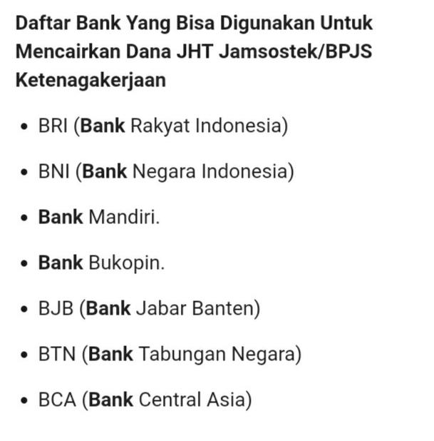 Daftar Bank Pendukung Pencairan BPJS Ketenagakerjaan