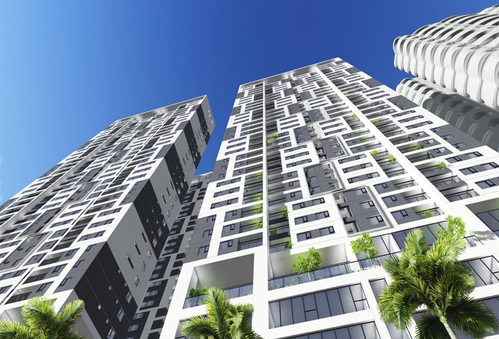 Phối cảnh mặt chính của chung cư Phú Mỹ Complex