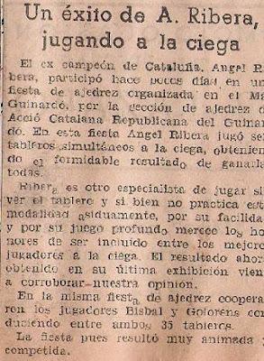 Recorte de prensa 1943 sobre Ribera y una exhibición de partidas a la ciega
