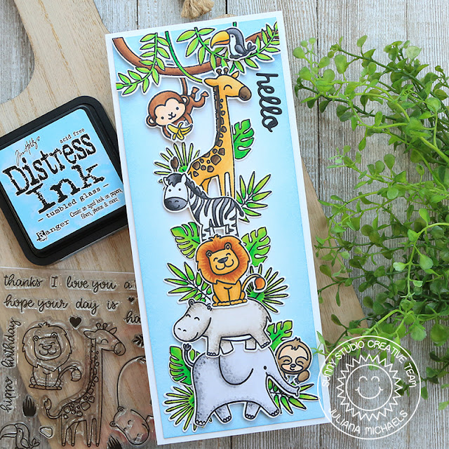 Sunny Studio Stamps: Savanna Safari Tropical Scenes Silly Sloths Love Monkey Fabulous Flamingos Everyday Card by Juliana Michaels