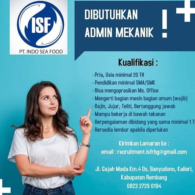 Lowongan Kerja Admin Mekanik PT Indo Sea Food Rembang